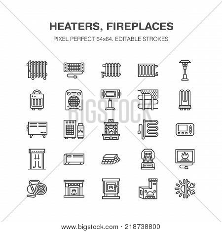 Oil heater, fireplace, convector, panel column radiator and other house heating appliances line icons. Home warming thin linear pictogram. Equipment store signs. Pixel perfect 64x64. stock photo