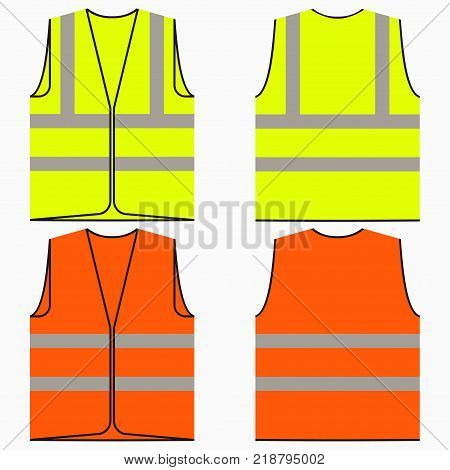 Safety vest. Set of yellow and orange work uniform with reflective stripes. Vector illustration.