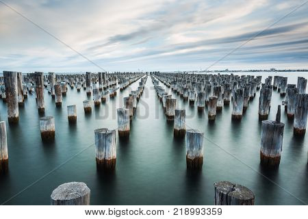 Iconic jetty/pier remains located in Port Melbourne. Well known to most photographers. stock photo