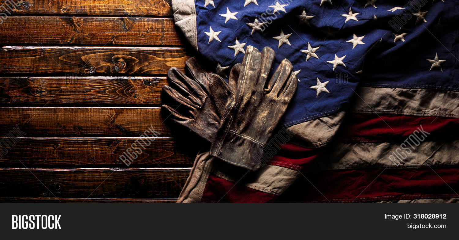 aged,america,american,american flag,background,dark,day,flag,freedom,gloves,holiday,industrial,industry,job,labor,labor day,manufacture,manufacturing,memorial,old,patriotic,production,us,usa,veterans,weathered,work,worn