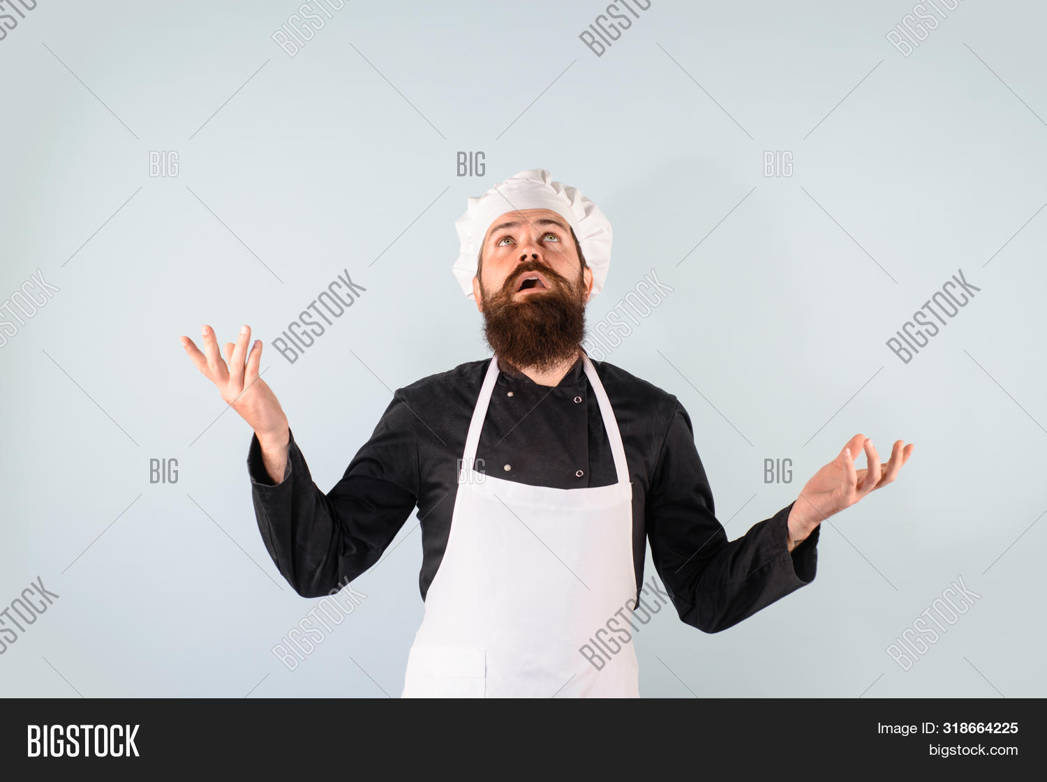 Cooking, Food, Profession And Inspiration Concept. Male Chef, Cook Or Baker In White Uniform. Bearde