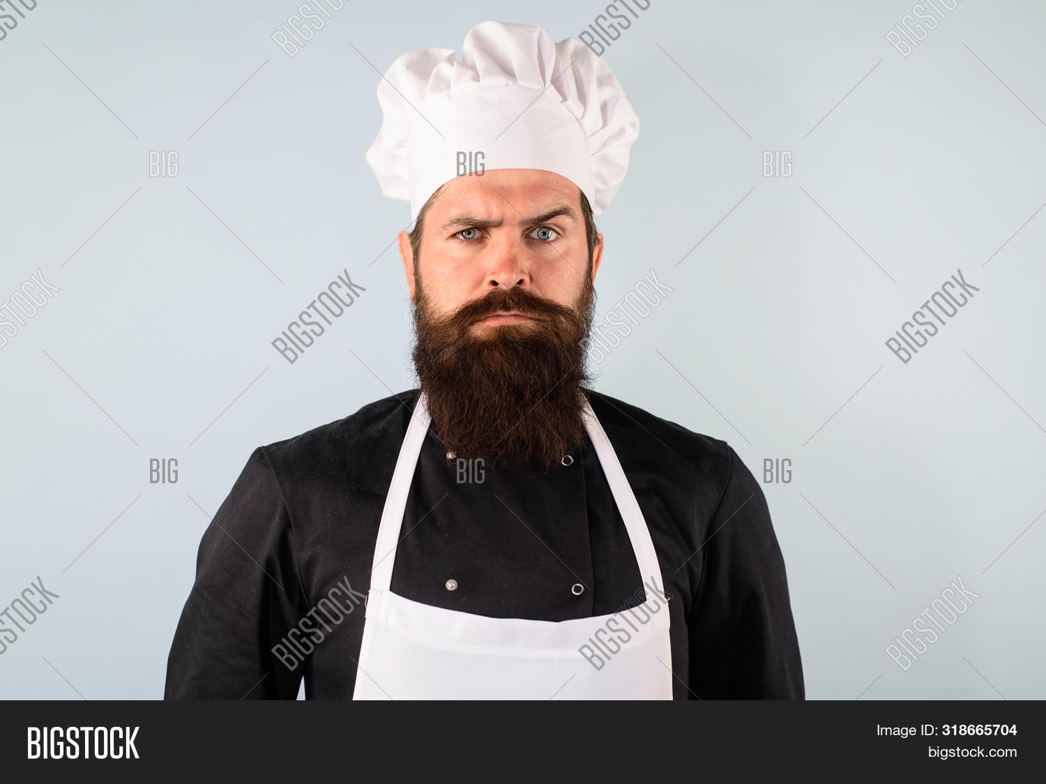 Bearded Chef In Cook Hat. Chief Man In Uniform. Professional Chef Man. Male Chef, Cook Or Baker In W