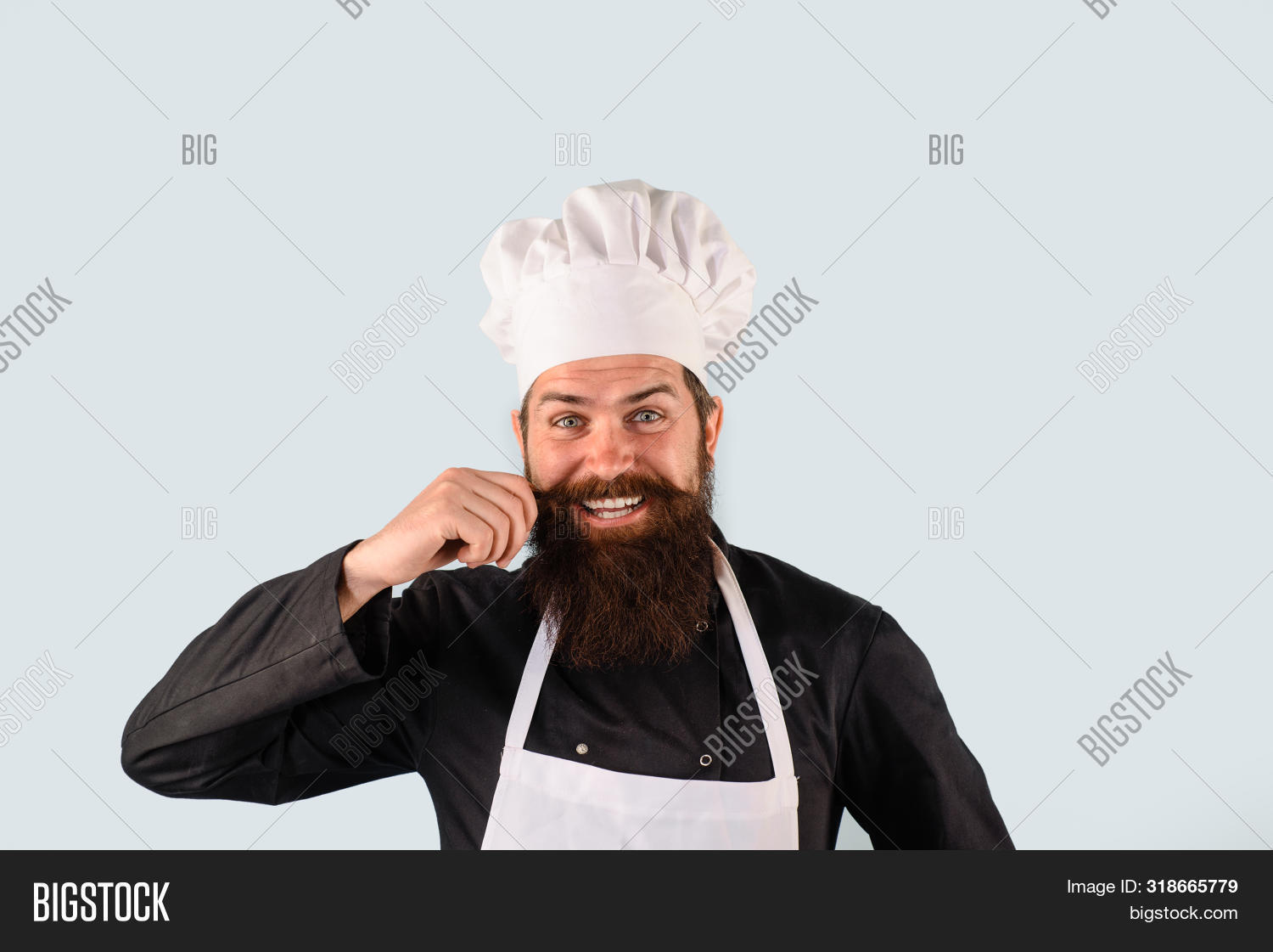 Professional Chef Man. Male Chef, Cook Or Baker In White Uniform. Bearded Chef In Cook Hat. Chief Ma