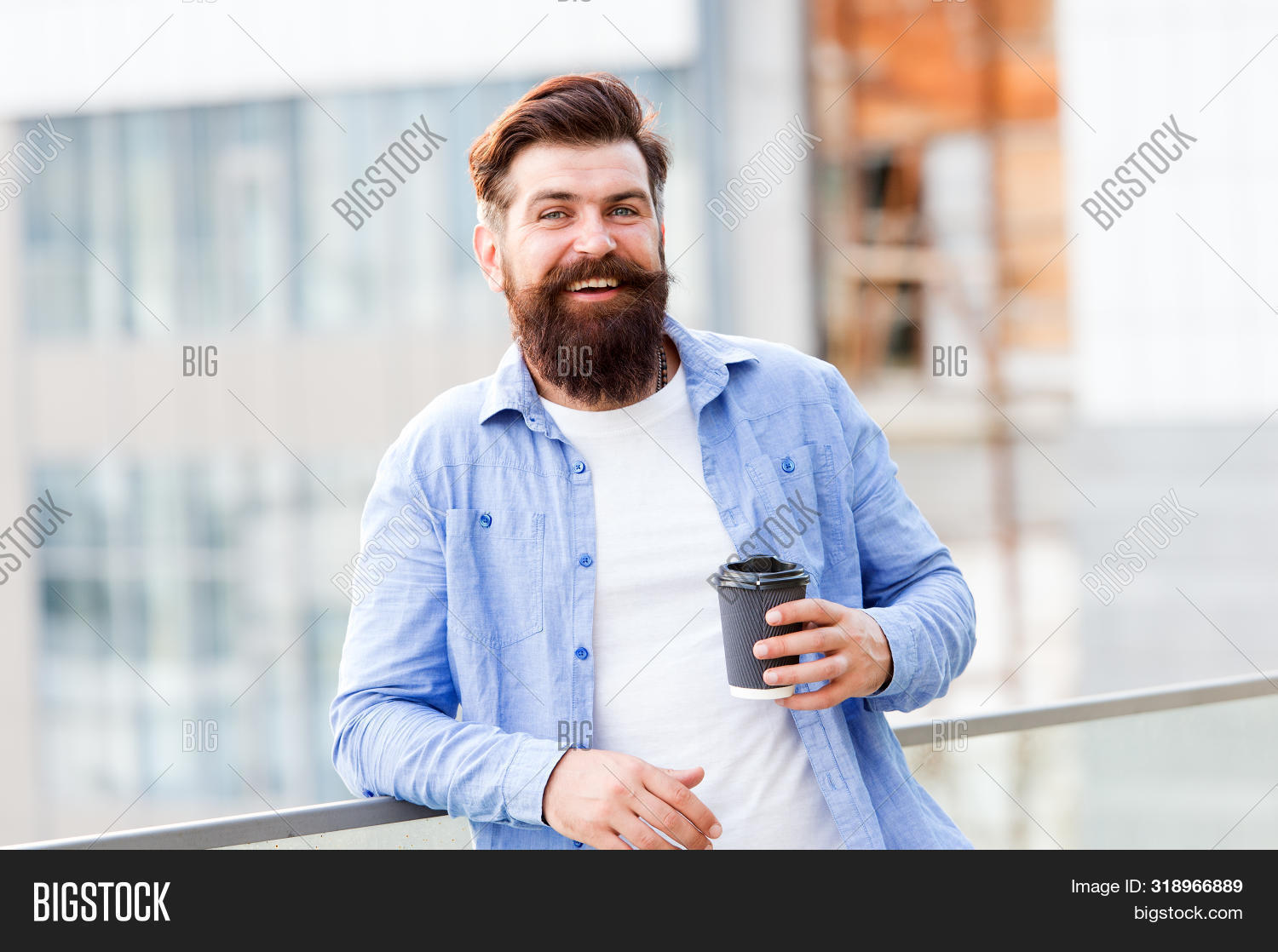 Coffee Completes Me. Make Yourself Useful. Man Drink Take Away Coffee. Bearded Man Relax Outdoors. C