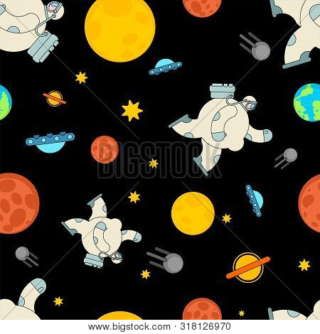 Fat astronaut space pattern seamless. Thick cosmonaut background. Stout spaceman ornament. Universe Baby cloth textire stock photo