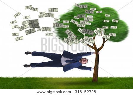 Businessman blown away from the money tree stock photo