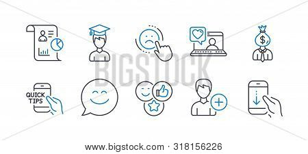 Set Of People Icons, Such As Like, Dislike, Smile Chat, Report, Student, Add Person, Friends Chat, M