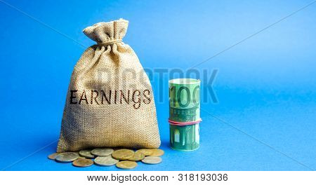 Money bag with the inscription Earnings and Euro bills. Net benefits of a corporation's operating. Profit, income, budget, capital. Ebitda. ROI. ROR stock photo