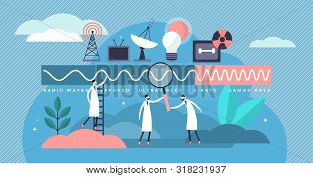 Electromagnetic spectrum vector illustration. Flat tiny frequencies range persons concept. Educational graphic with radio, infrared, ultraviolet, Xrays, gamma rays and Ionizing radiation hertz graphic stock photo