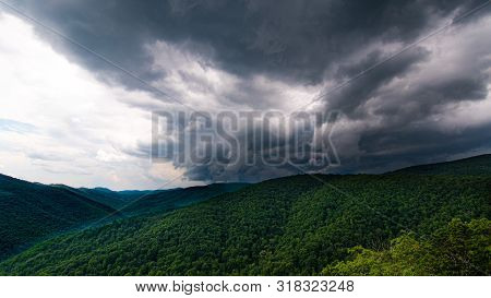 Stormy weather moving across the Appalachians in Summer stock photo