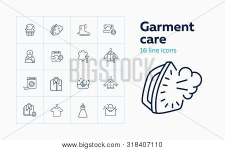 Garment care line icon set. Overcoat, boot, clothes, leather. Guide concept. Can be used for topics like warning, hand washing, dry cleaning stock photo