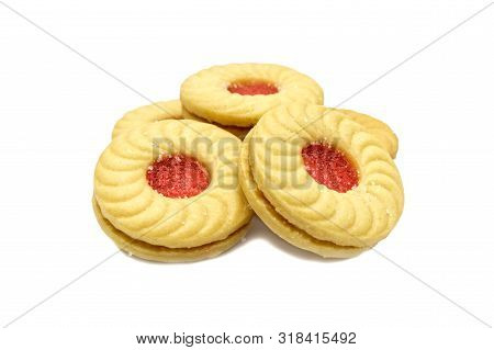 Lychee flavoured jam sanwiched between two cream cookies, Isolated on white background. Tasty treats that are just as fun to eat as they are delicious. They are a great on-the-go allergy free snack. stock photo