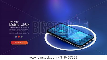 Modern flat vector illustration concept application of smartphone with business graph and analytics data on isometric mobile phone. Analysis trends and financial strategy by using infographic chart. stock photo