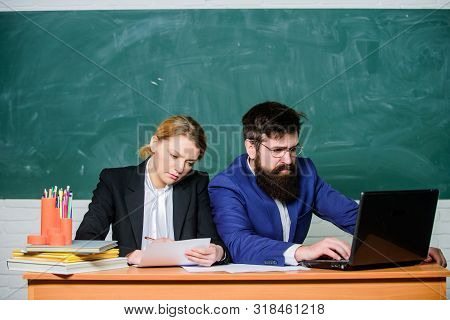 Selection committee concept. Teacher principal decide who will enter private school. Private elite school. Interviewing enrollee. College enrollee. Entrance examination. Apply to enter high school stock photo