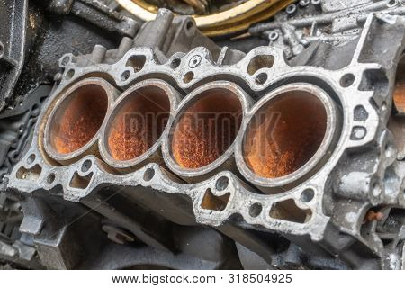 Scrap engines parts for recycling. Scrap metal recycling. stock photo
