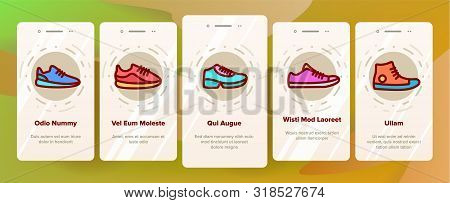 Sneakers Onboarding Mobile App Page Screen Vector. Man And Woman Shoes Sneakers Linear Pictograms. Boots Footweare Stock Fashion Modern Accessory Contour Illustrations stock photo