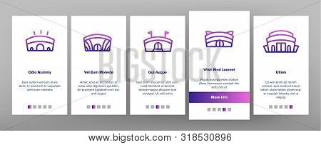 Arena Buildings Onboarding Mobile App Page Screen Vector Thin Line. Different Exterior Architecture Of Arena Stadium Linear Pictograms. Complex For Championship Games Illustrations stock photo