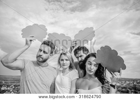 Promoting the best possible communication. Friends send messages on comic bubbles. People speak using speech bubbles. Communication pleasure. Communication occurs through speech balloons, copy space stock photo