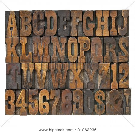 letters and numbers in vintage letterpress wood type - alphabet in French clarendon typeset stock photo