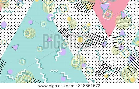 90s pattern. Memphis style. Abstract retro background. Vector Illustration. Hipster style 80s-90s. stock photo
