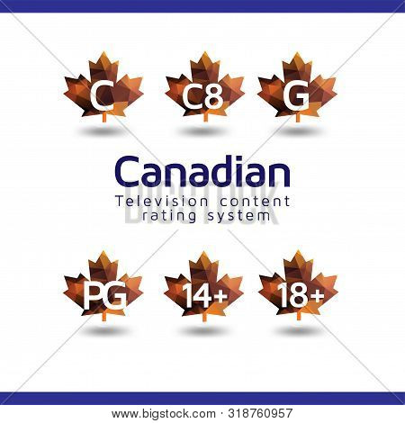 Canadian television content rating system vector icon buttons stock photo