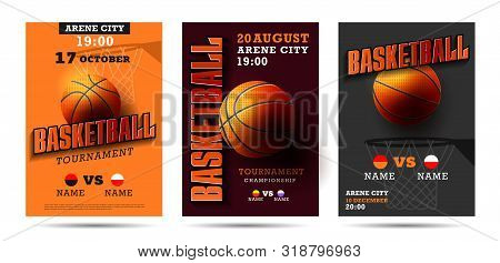 Set Of Basketball Posters With Basketball Ball. Basketball Playoff Advertising. Sport Event Announce