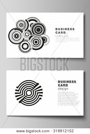 The minimalistic abstract vector illustration layout of two creative business cards design templates. Trendy geometric abstract background in minimalistic flat style with dynamic composition. stock photo