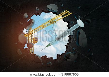 3d rendering of hoisting crane carrying syringe and breaking hole in black wall with blue sky seen through. stock photo