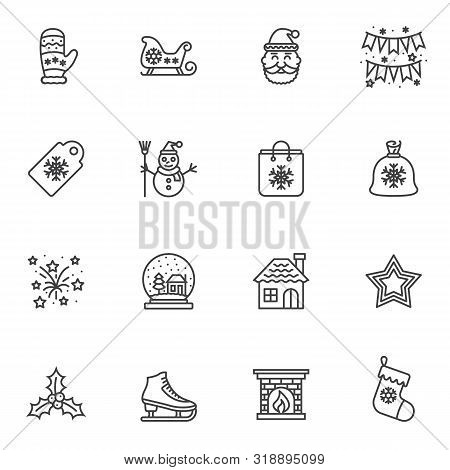 Christmas line icons set. linear style symbols collection, outline signs pack. vector graphics. Set includes icons as santa, flag, gift bag, fireworks, stars, glass, house, sock, sleigh snowflake stock photo