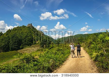 Traveling outdoor hiking walking nature. Traveling in nature. travel outdoor backpacking nature. Nature. Travel. Traveling. Valley. Hiking. Nature and beautiful mountain view. Travel landscape nature. stock photo