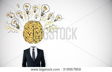 Abstract headless businessman with creative brain and light bulbs sketch on white background. Brainstorm and think concept stock photo