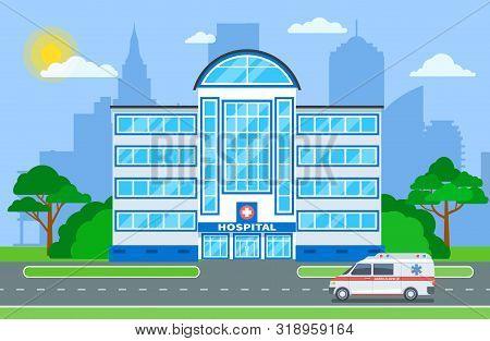 Hospital building. Medical department exterior with ambulance in city landscape. Hospitalization, healthcare medicine vector concept. Medical ambulance healthcare, emergency building illustration stock photo
