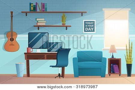 Freelance Interior. Working Place Of Student Office Vector Home Modern Freelance Workspace Computer