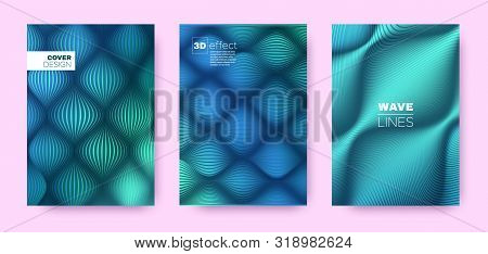 Turquoise Flow Poster. Abstract Covers Set. Dynamic Distorted Lines. 3d Geometric Background. Flow Lines Pattern. Business Covers Set. Cyan Design Banner. Mint Flow Illustration. stock photo