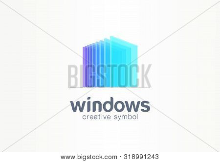 3d windows, glass creative symbol concept. Construction, architecture, real estate, abstract business logo idea. Home, build, house icon stock photo