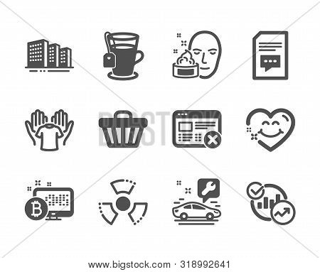 Set of Business icons, such as Face cream, Hold t-shirt, Shop cart, Statistics, Smile face, Comments, Bitcoin system, Car service, Reject web, Chemical hazard, Buildings, Tea. Face cream icon. Vector stock photo