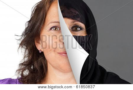 Veiling of Muslim women concept with half the head veiled being peeled off stock photo