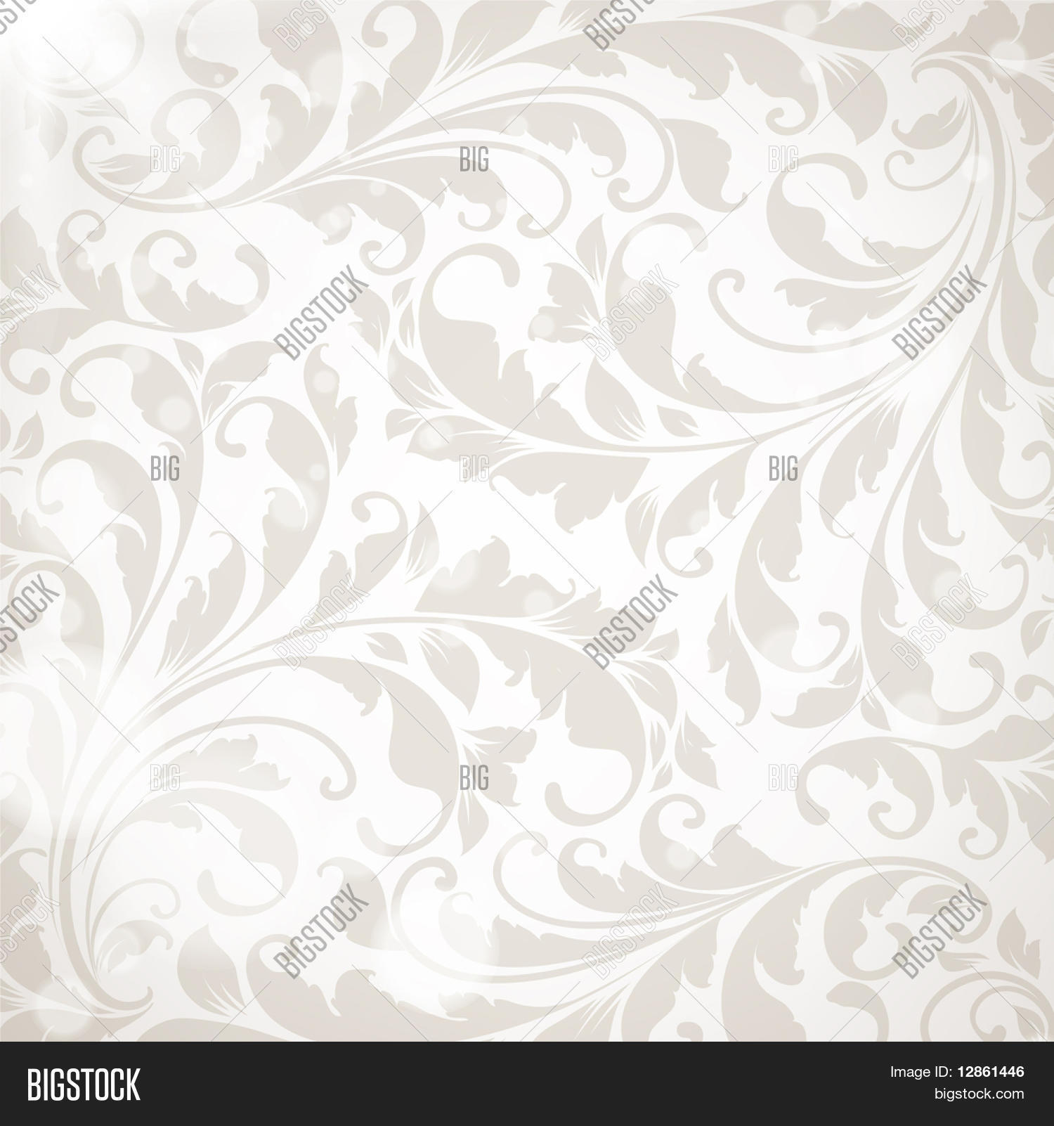 Wallpaper With Floral Ornament With Leafs And Flowers For Vintage