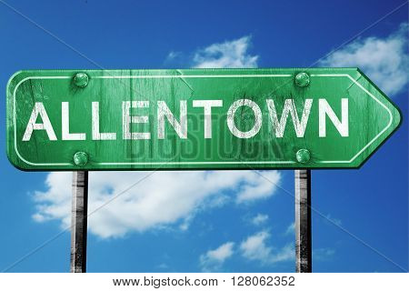 allentown road sign , worn and damaged look stock photo