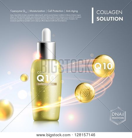 Coenzyme Q10 serum essence bottle. Skin care moisturizing treatment vial design. Anti age DNA helix protection solution. Premium shining enzyme droplet. Vector illustration. stock photo