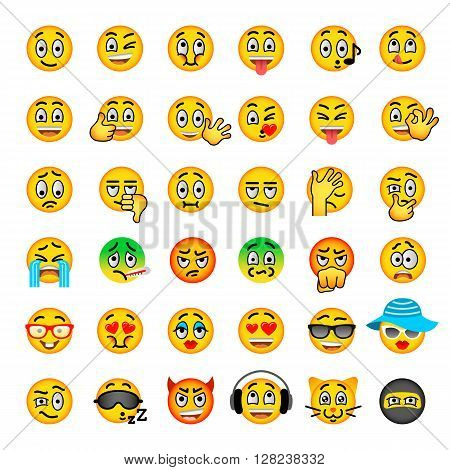 Smiley face flat vector icons set. Emoji emoticons. Different facial emotions and expression symbols. Cute cartoon illustrations of mood and reactions for text chat and web messenger. Ball character