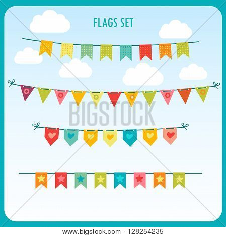 Garlands Of Festive Flags Isolated Against The Bright Sky. Vector Holiday Clip Art. Festive Flags For Sale. Festive House Flags. Holiday Flags. Holiday Flags For Outdoors. Set Of Holiday Flags.