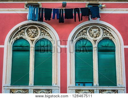 Square details on colourful square in old city center in Split, Croatia. stock photo
