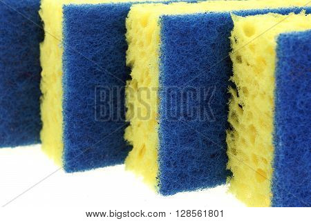 Four New Absorbent Yellow Sponge With Blue Hardwearing Fiber Scourer Isolated On White Background Close Up stock photo