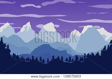 mountains landscape forest and sky. Flat vector landscape. The horizon of mountain peaks. Natural landscape illustration