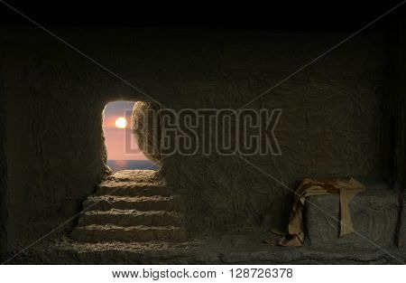 Jesus\'s empty tomb seen from the inside
