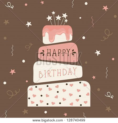 Cute happy birthday card with cake. Birthday cake. Vector calligraphic inscription «Happy birthday\