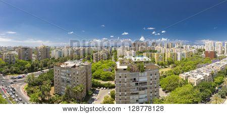 Tel Aviv Cityscape - Ramat Aviv Aerial View At Sunny Day stock photo