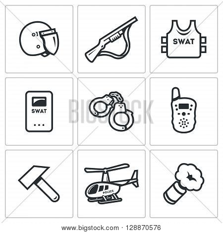 Helmet, Shotgun, Body Armor, Shield, Handcuffs, Radio, Sledgehammer, Helicopter, Smoke Grenade stock photo