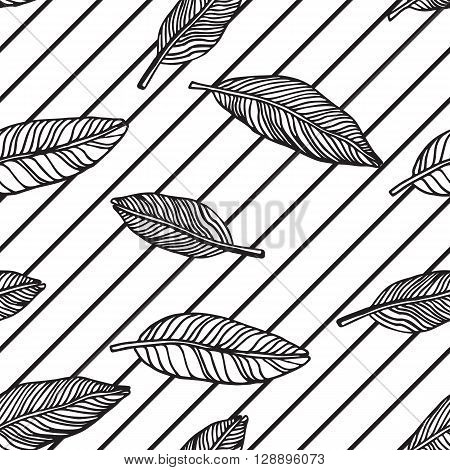Simple seamless tropical jungle floral pattern background with handdrawing doodle leaves horisontal diagonal striped texture. Universal summer patterrn for your clothers typography design in clasic 1990s 1980s stule stock photo